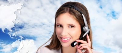 call center operator with map, global international contact concept